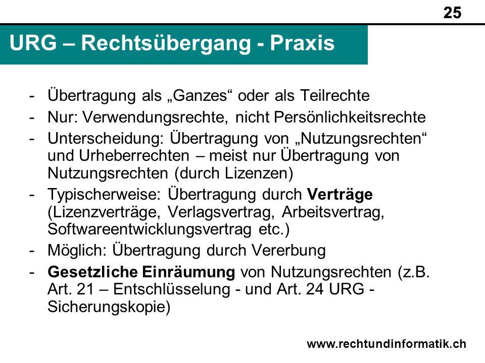 25 www.rechtundinformatik.ch URG – Rechtsübergang - Praxis 25 -Übertragung als Ganzes oder als Teilrechte -Nur: Verwendungsrechte, nicht Persönlichkei