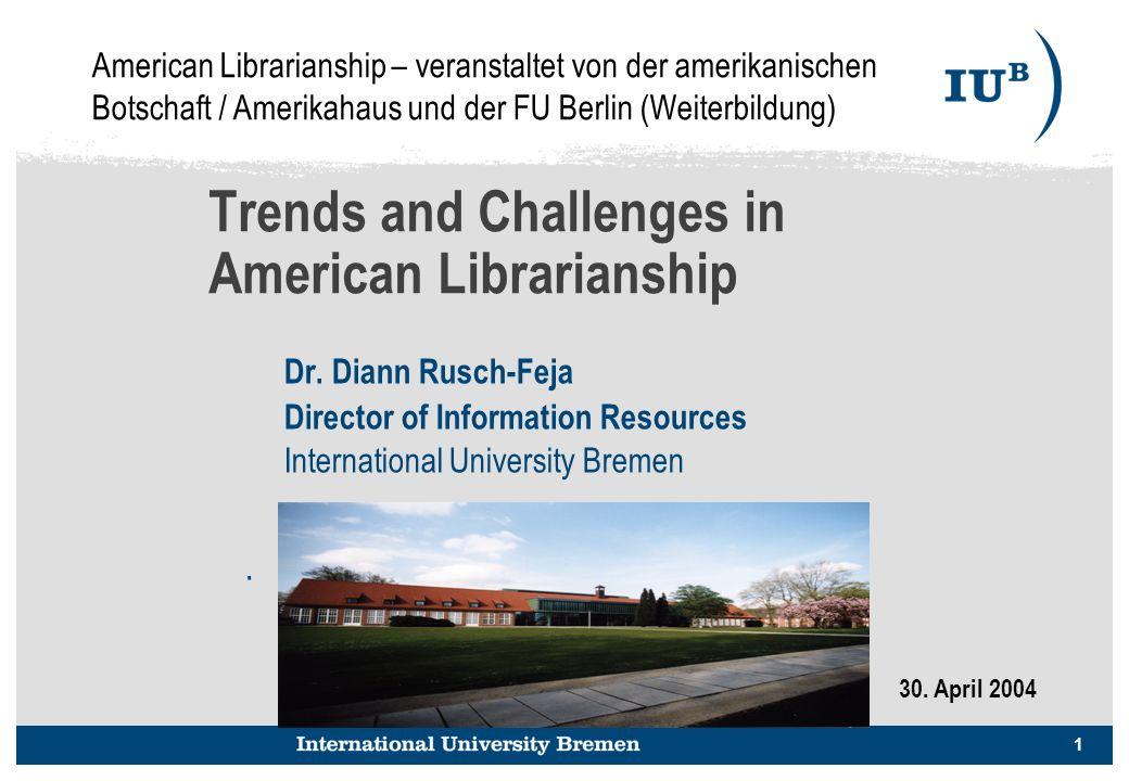 2 Trends and Challenges in American Librarianship Adäquate Informationsversorgung - die Bilanze zwischen steigenden Preisen & Etatkürzungen Strategische Allianzen / Partnerschaften -- mit Forschungs- und Lehrkräften -- mit anderen Bibliotheken -- mit EDV, MM und Bildungstechnologie-Abteilungen -- mit Verlagen, Fachgesellschaften Neue Rolle als Produzent – Digitale Repositories Stärkere Einbindung in die Organisation und dem Angebot von Lerninhalten in den Lehrbetrieb In wissenschaftlichen Bibliotheken: