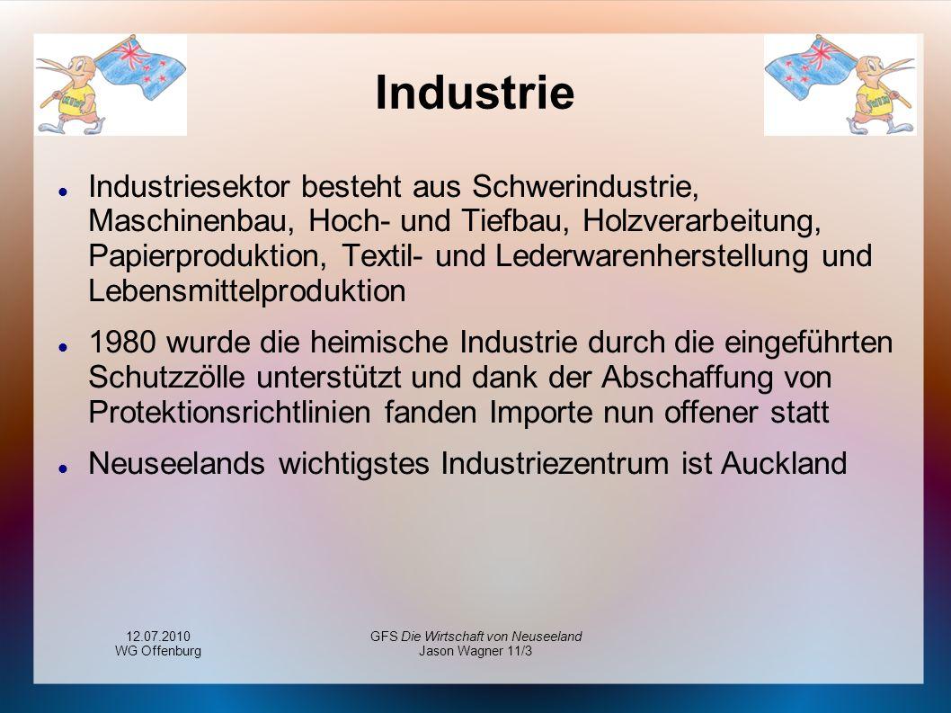 12.07.2010 WG Offenburg GFS Die Wirtschaft von Neuseeland Jason Wagner 11/3 Industrie Industriesektor besteht aus Schwerindustrie, Maschinenbau, Hoch-