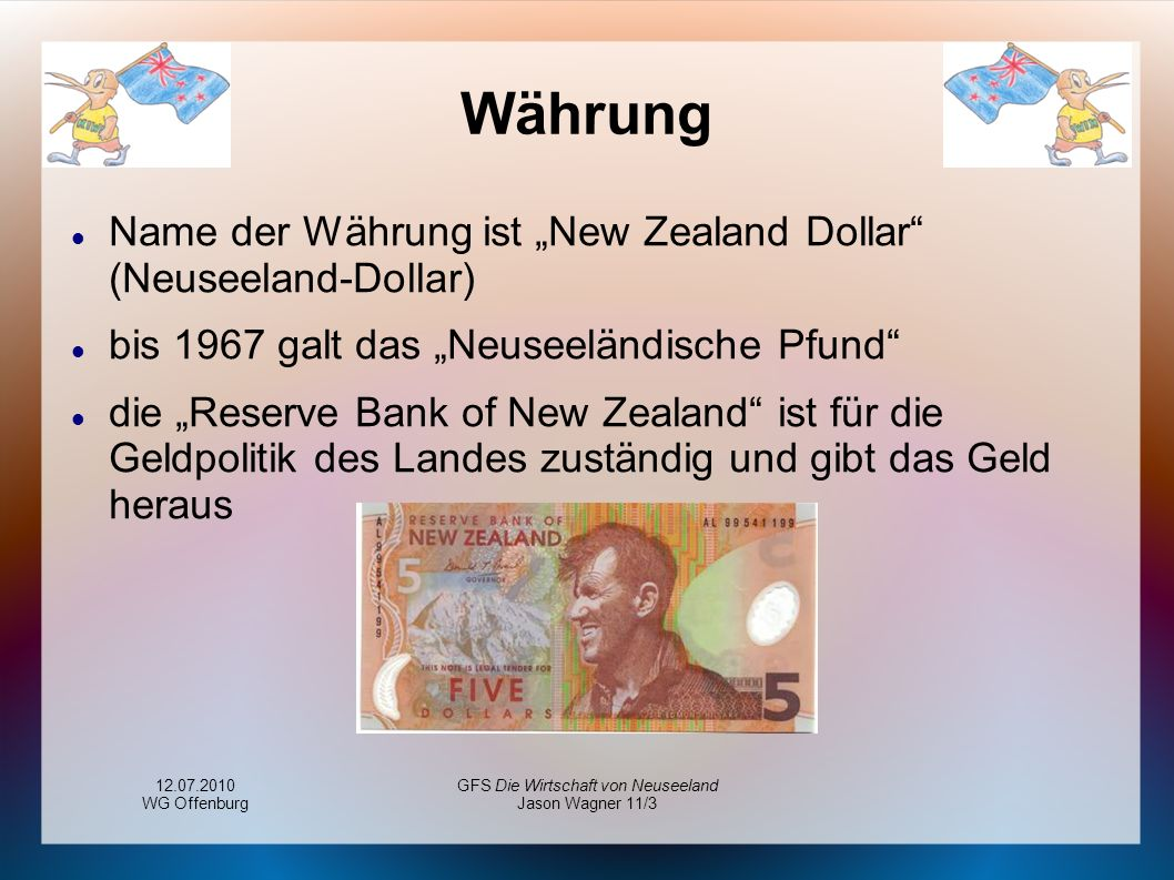 12.07.2010 WG Offenburg GFS Die Wirtschaft von Neuseeland Jason Wagner 11/3 Währung Name der Währung ist New Zealand Dollar (Neuseeland-Dollar) bis 19