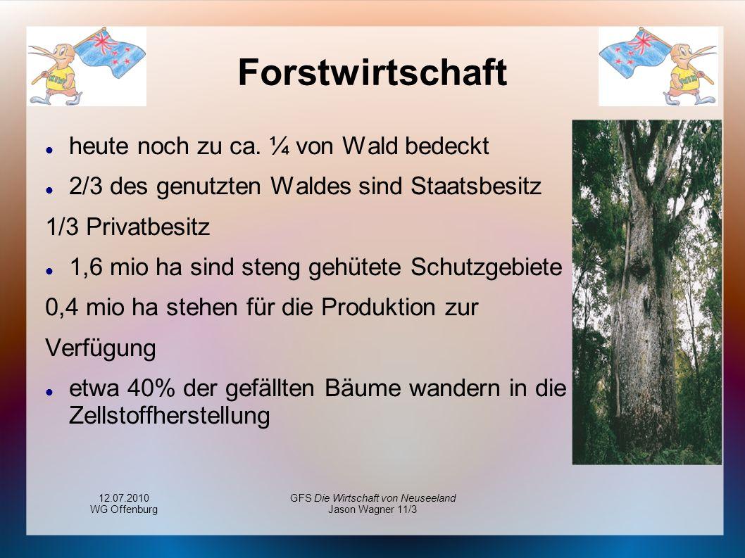 12.07.2010 WG Offenburg GFS Die Wirtschaft von Neuseeland Jason Wagner 11/3 Forstwirtschaft heute noch zu ca. ¼ von Wald bedeckt 2/3 des genutzten Wal
