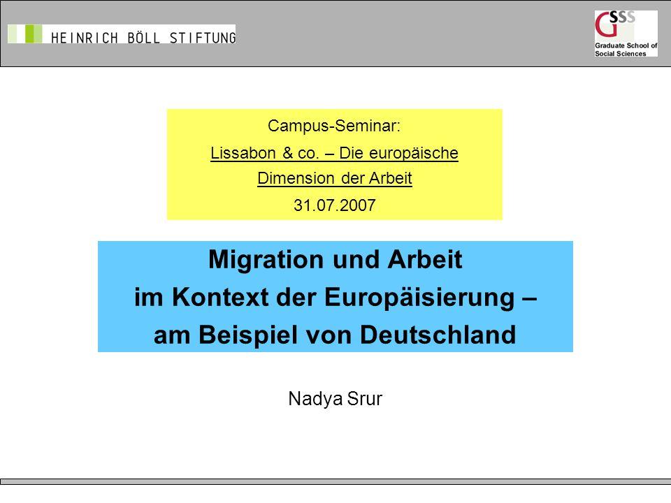 2 Inhalte: Daten und Fakten Migration im Kontext der Lissabon-Strategie Freizügigkeitsgesetz Qualifikation und Mobilität: zur Anerkennung von im Herkunftsland erworbenen Abschlüssen