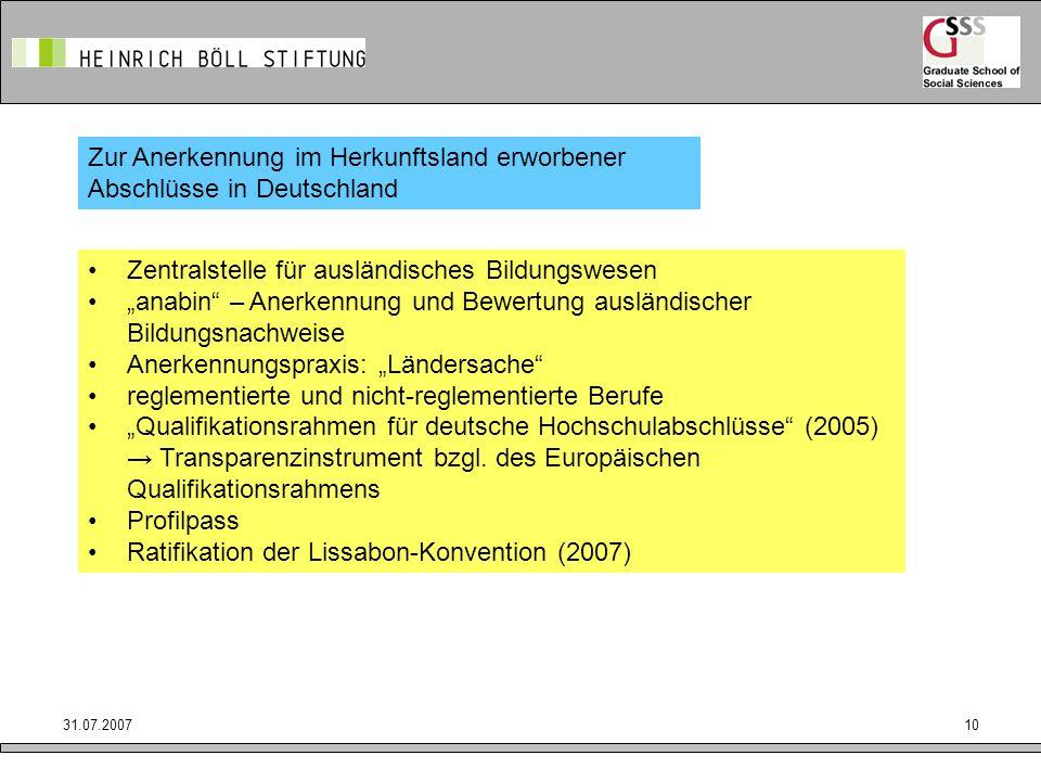 31.07.200710 Zur Anerkennung im Herkunftsland erworbener Abschlüsse in Deutschland Zentralstelle für ausländisches Bildungswesen anabin – Anerkennung