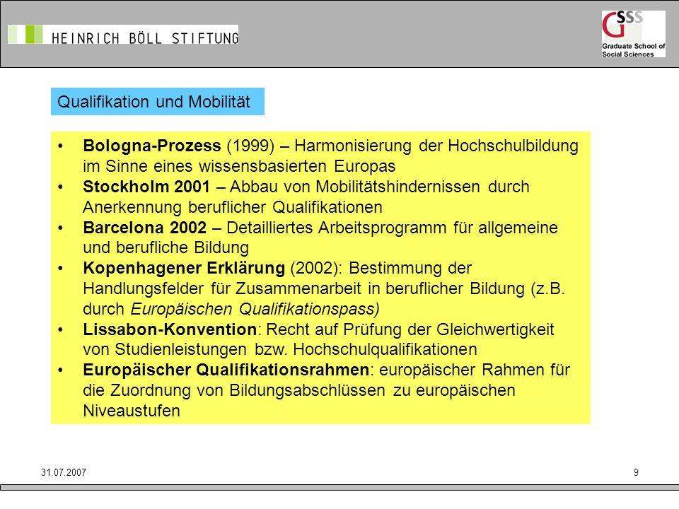 31.07.20079 Qualifikation und Mobilität Bologna-Prozess (1999) – Harmonisierung der Hochschulbildung im Sinne eines wissensbasierten Europas Stockholm