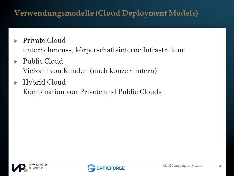 Titelmasterformat durch Klicken bearbeiten Cloud Computing| 09.05.201211 Verwendungsmodelle (Cloud Deployment Models) Private Cloud unternehmens-, kör