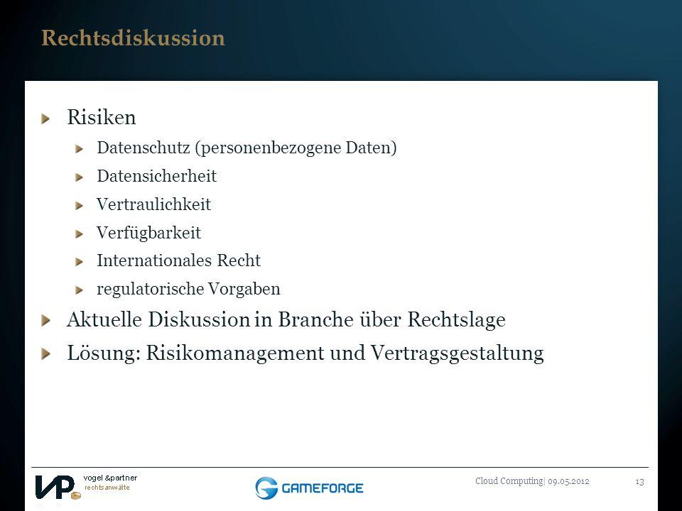 Titelmasterformat durch Klicken bearbeiten Cloud Computing| 09.05.201213 Rechtsdiskussion Risiken Datenschutz (personenbezogene Daten) Datensicherheit