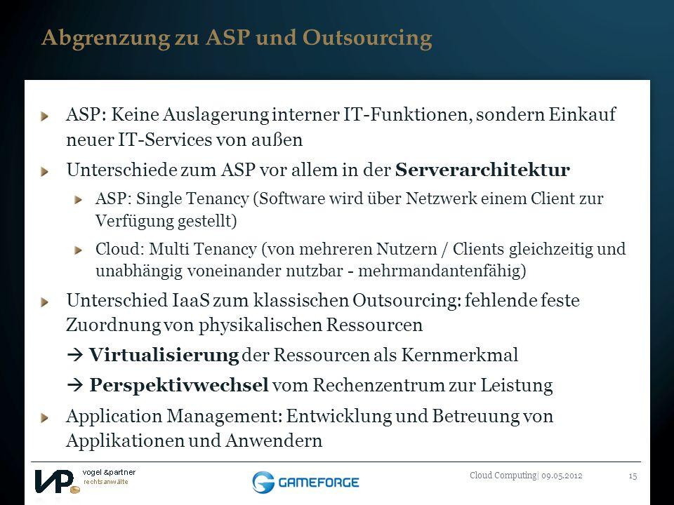 Titelmasterformat durch Klicken bearbeiten Cloud Computing| 09.05.201215 Abgrenzung zu ASP und Outsourcing ASP: Keine Auslagerung interner IT-Funktion