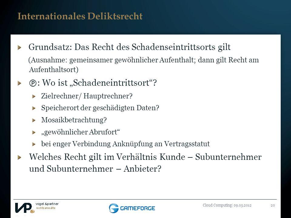 Titelmasterformat durch Klicken bearbeiten Cloud Computing| 09.05.201220 Internationales Deliktsrecht Grundsatz: Das Recht des Schadenseintrittsorts g