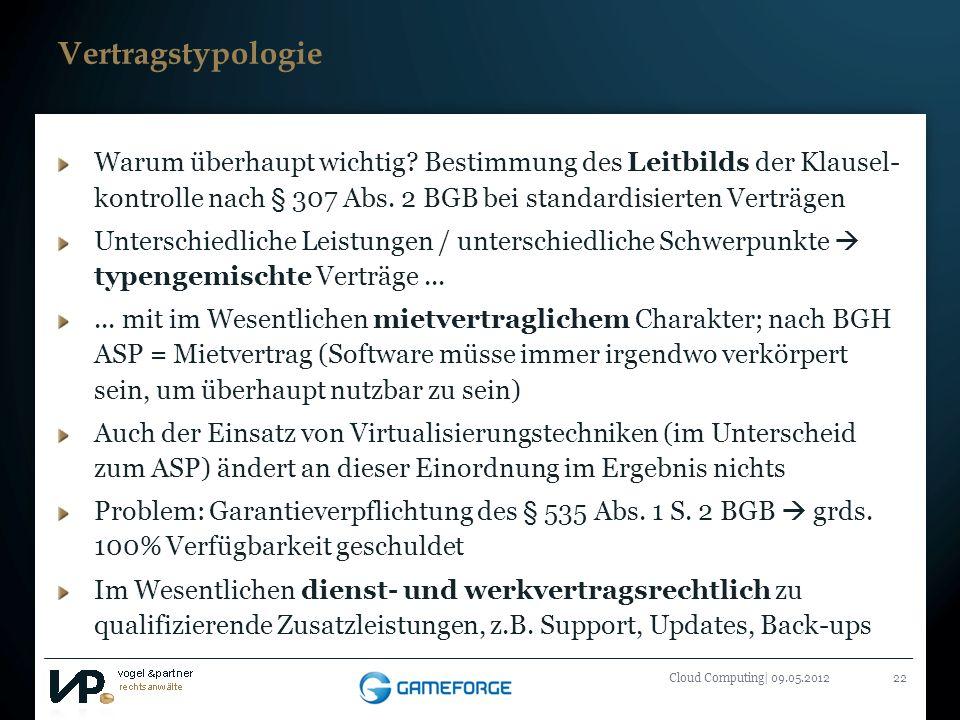 Titelmasterformat durch Klicken bearbeiten Cloud Computing| 09.05.201222 Vertragstypologie Warum überhaupt wichtig? Bestimmung des Leitbilds der Klaus