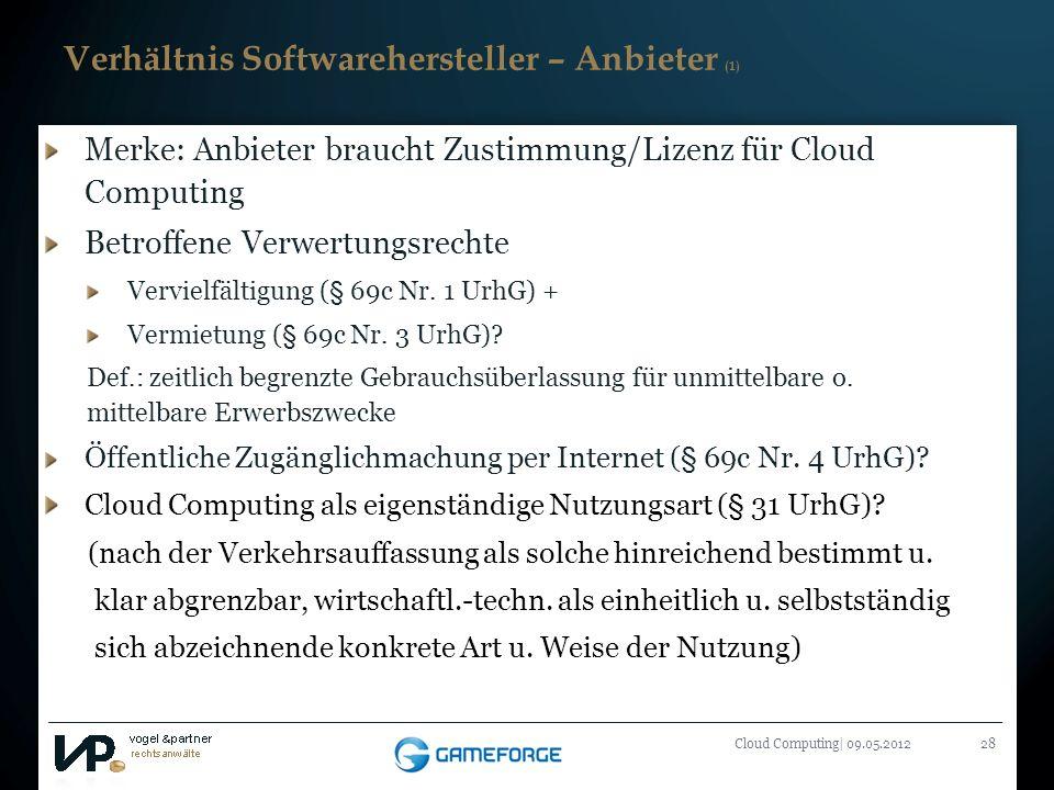 Titelmasterformat durch Klicken bearbeiten Cloud Computing| 09.05.201228 Verhältnis Softwarehersteller – Anbieter (1) Merke: Anbieter braucht Zustimmu