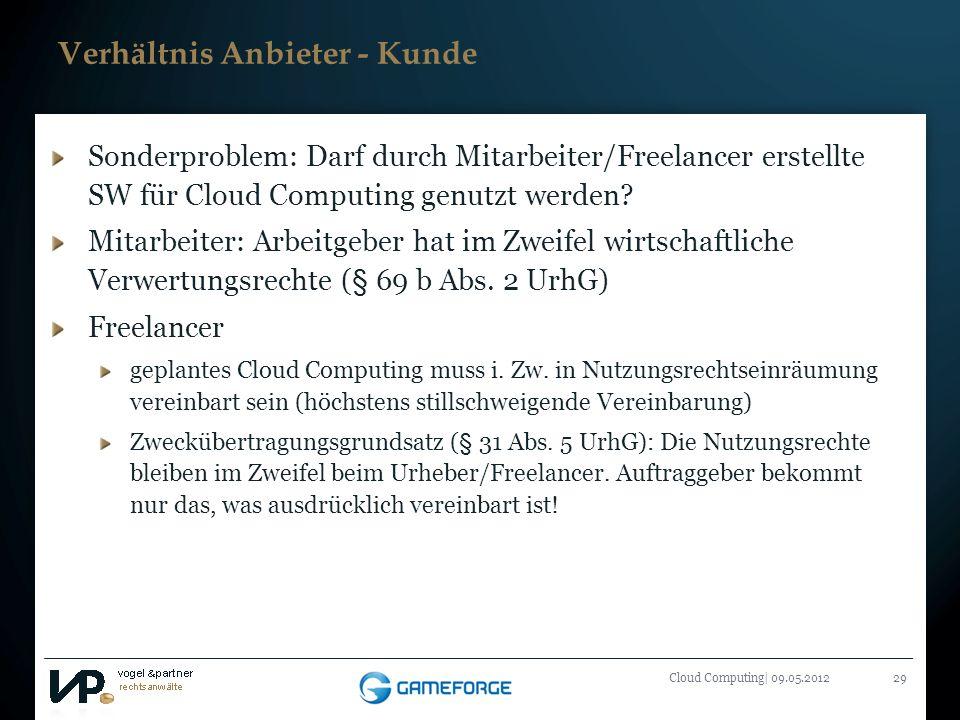 Titelmasterformat durch Klicken bearbeiten Cloud Computing| 09.05.201229 Verhältnis Anbieter - Kunde Sonderproblem: Darf durch Mitarbeiter/Freelancer