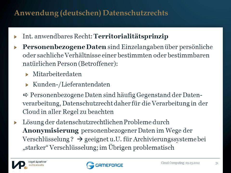 Titelmasterformat durch Klicken bearbeiten Cloud Computing| 09.05.201231 Int. anwendbares Recht: Territorialitätsprinzip Personenbezogene Daten sind E