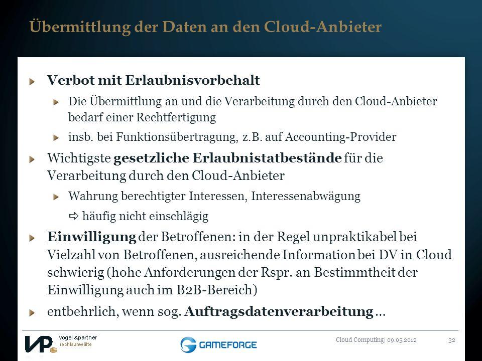 Titelmasterformat durch Klicken bearbeiten Cloud Computing| 09.05.201232 Übermittlung der Daten an den Cloud-Anbieter Verbot mit Erlaubnisvorbehalt Di