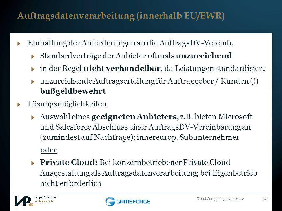 Titelmasterformat durch Klicken bearbeiten Cloud Computing| 09.05.201234 Auftragsdatenverarbeitung (innerhalb EU/EWR) Einhaltung der Anforderungen an