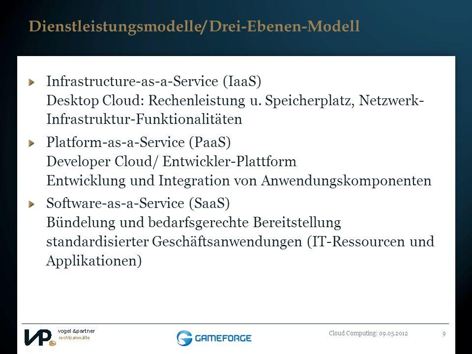Titelmasterformat durch Klicken bearbeiten Cloud Computing| 09.05.20129 Dienstleistungsmodelle/ Drei-Ebenen-Modell Infrastructure-as-a-Service (IaaS)