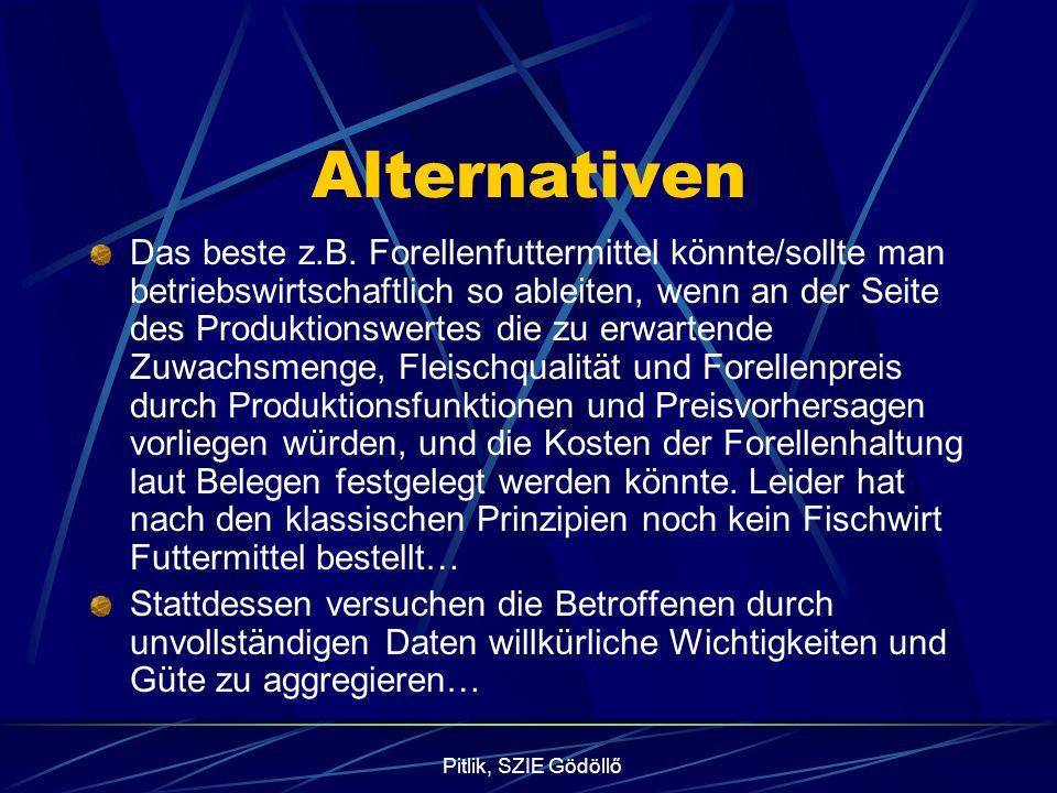 Pitlik, SZIE Gödöllő Alternativen Das beste z.B. Forellenfuttermittel könnte/sollte man betriebswirtschaftlich so ableiten, wenn an der Seite des Prod