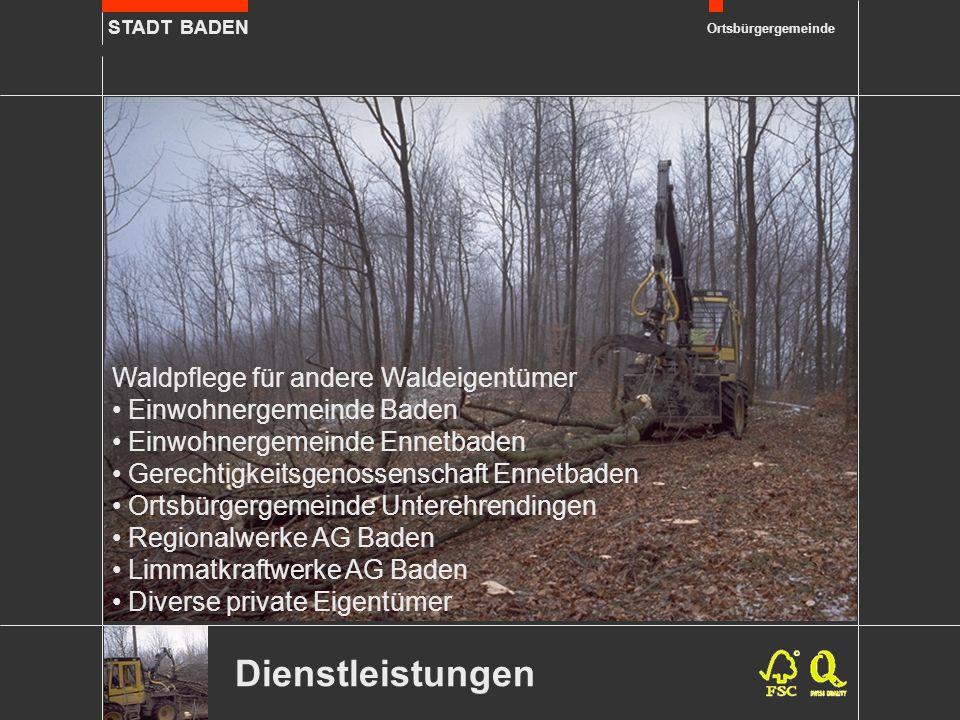 STADT BADEN Ortsbürgergemeinde Dienstleistungen Waldpflege für andere Waldeigentümer Einwohnergemeinde Baden Einwohnergemeinde Ennetbaden Gerechtigkei