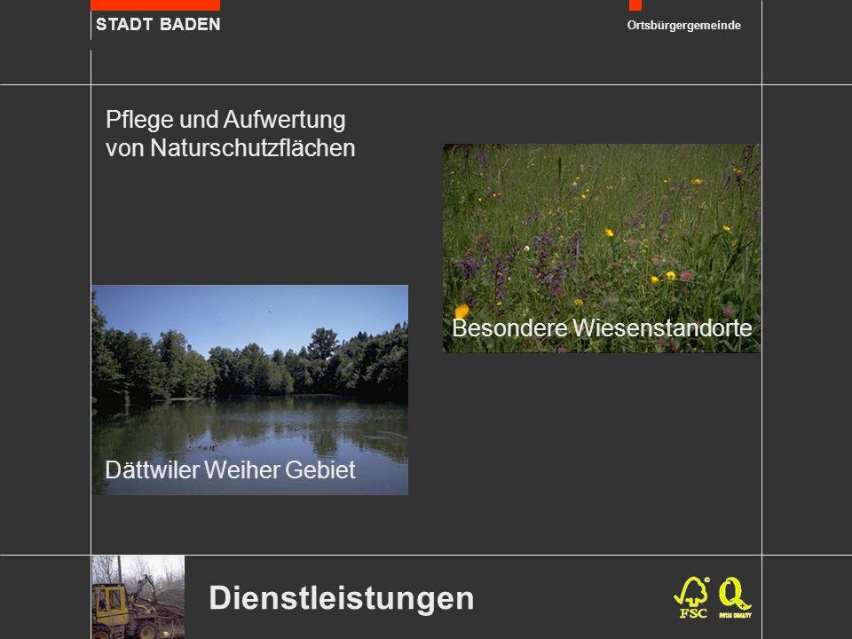 STADT BADEN Ortsbürgergemeinde Dienstleistungen Pflege und Aufwertung von Naturschutzflächen Besondere Wiesenstandorte Dättwiler Weiher Gebiet