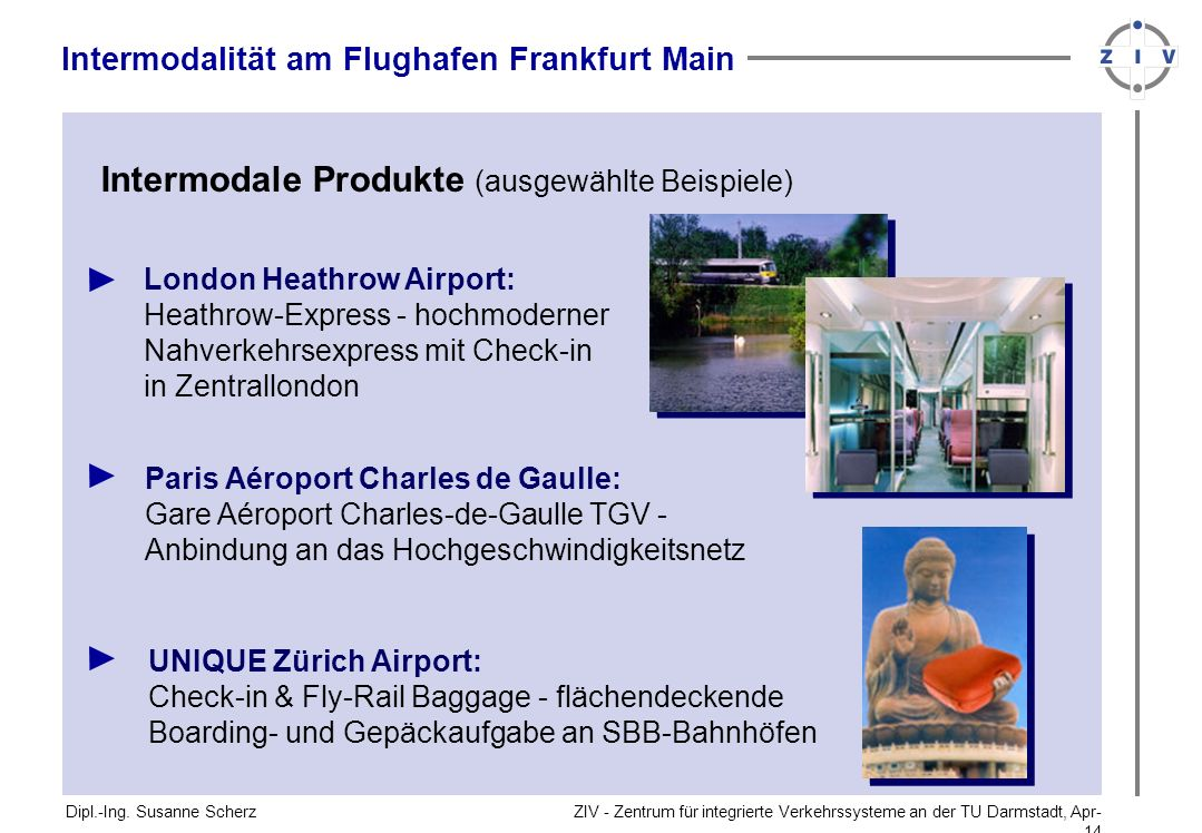 ZIV - Zentrum für integrierte Verkehrssysteme an der TU Darmstadt, Apr-14Apr-14 Dipl.-Ing. Susanne Scherz Intermodale Produkte (ausgewählte Beispiele)