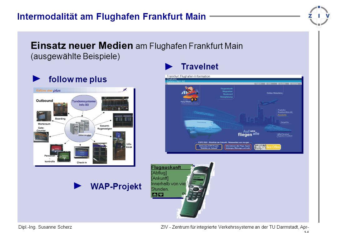 ZIV - Zentrum für integrierte Verkehrssysteme an der TU Darmstadt, Apr-14Apr-14 Dipl.-Ing. Susanne Scherz Intermodalität am Flughafen Frankfurt Main E