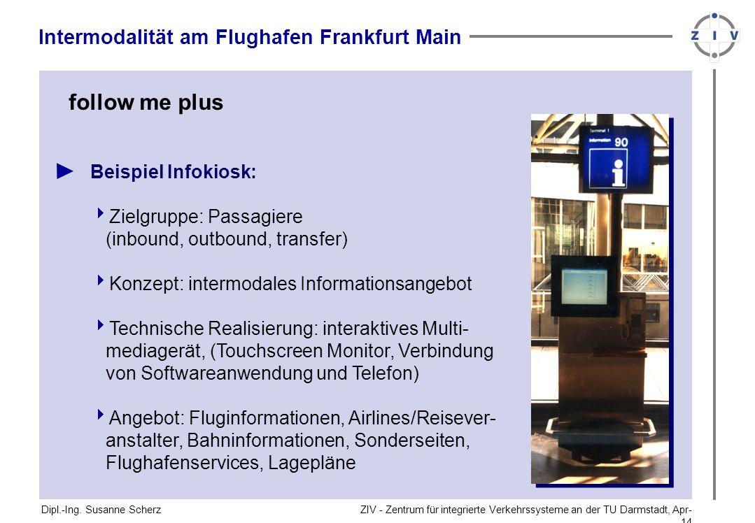 ZIV - Zentrum für integrierte Verkehrssysteme an der TU Darmstadt, Apr-14Apr-14 Dipl.-Ing. Susanne Scherz Intermodalität am Flughafen Frankfurt Main f