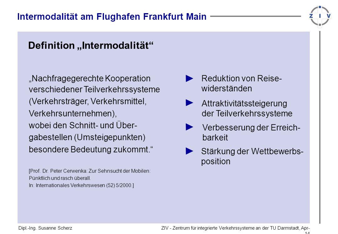 ZIV - Zentrum für integrierte Verkehrssysteme an der TU Darmstadt, Apr-14Apr-14 Nachfragegerechte Kooperation verschiedener Teilverkehrssysteme (Verkehrsträger, Verkehrsmittel, Verkehrsunternehmen), wobei den Schnitt- und Über- gabestellen (Umsteigepunkten) besondere Bedeutung zukommt.