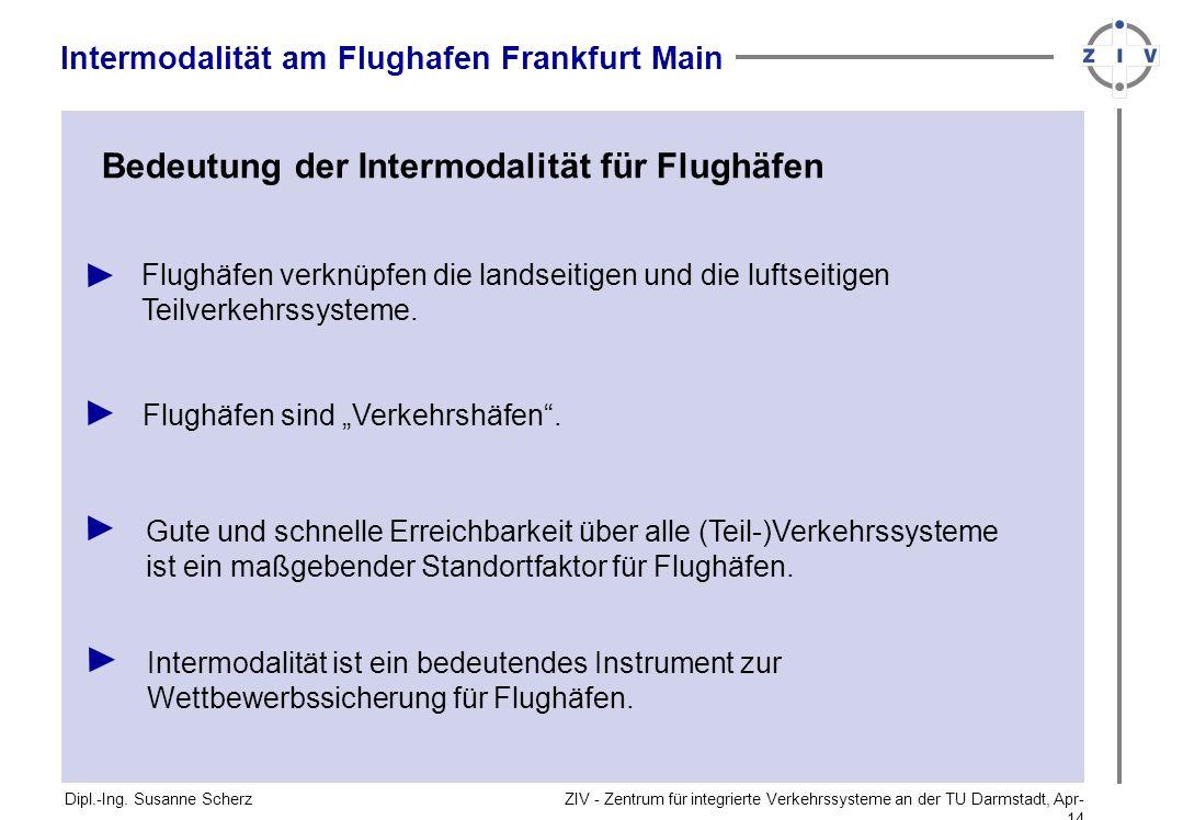 ZIV - Zentrum für integrierte Verkehrssysteme an der TU Darmstadt, Apr-14Apr-14 Bedeutung der Intermodalität für Flughäfen Dipl.-Ing. Susanne Scherz I