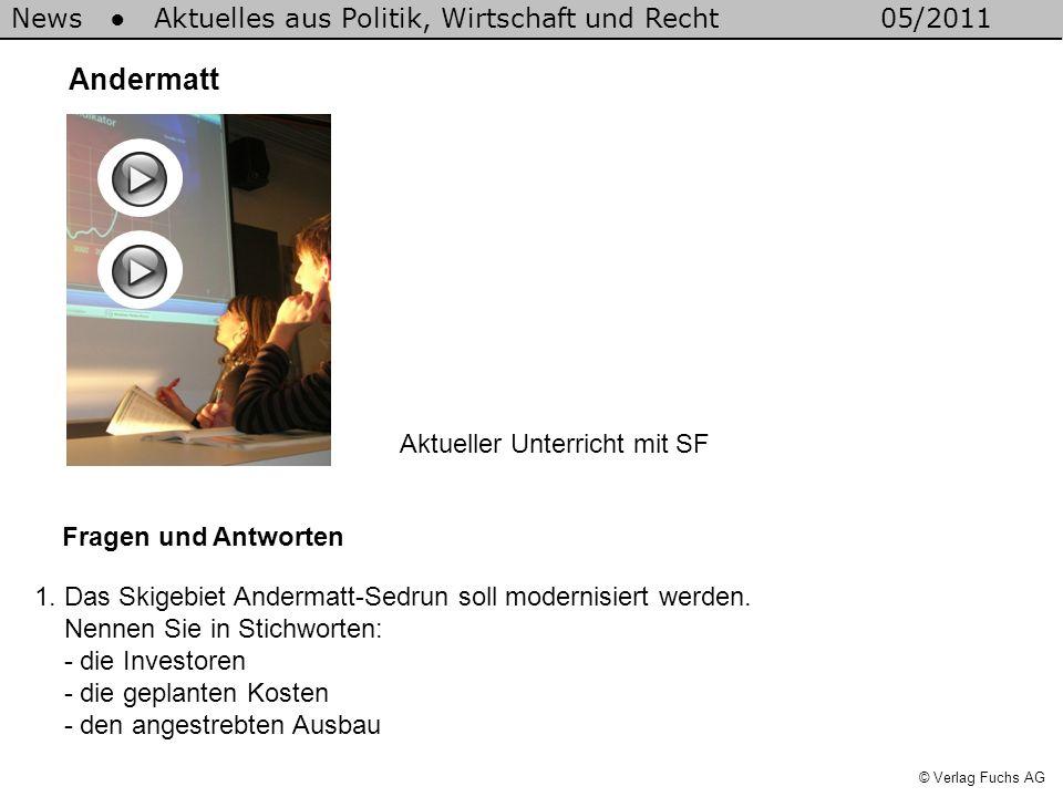 News Aktuelles aus Politik, Wirtschaft und Recht05/2011 © Verlag Fuchs AG Andermatt Fragen und Antworten 1.