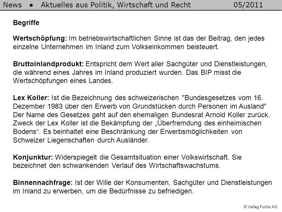 News Aktuelles aus Politik, Wirtschaft und Recht05/2011 © Verlag Fuchs AG Begriffe Wertschöpfung: Im betriebswirtschaftlichen Sinne ist das der Beitrag, den jedes einzelne Unternehmen im Inland zum Volkseinkommen beisteuert.