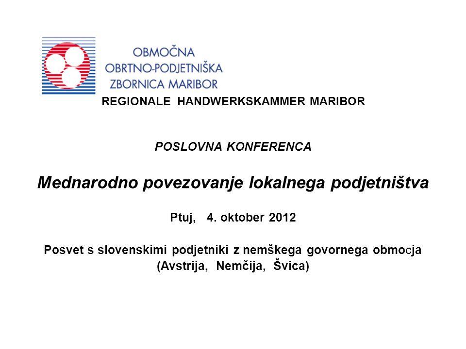 REGIONALE HANDWERKSKAMMER MARIBOR POSLOVNA KONFERENCA Mednarodno povezovanje lokalnega podjetništva Ptuj, 4.