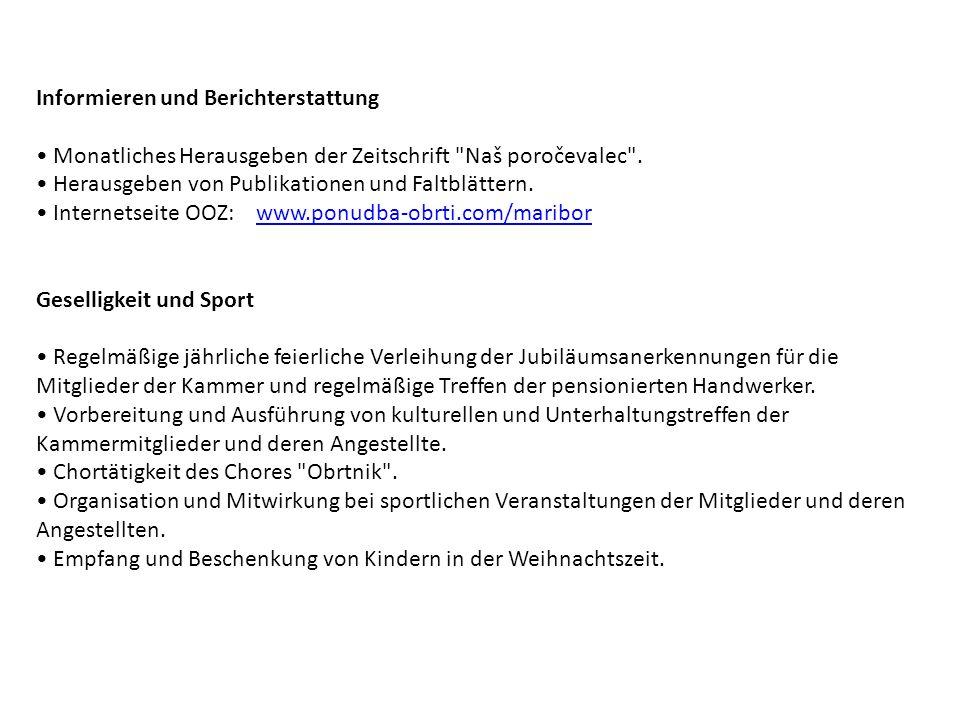 Informieren und Berichterstattung Monatliches Herausgeben der Zeitschrift Naš poročevalec .