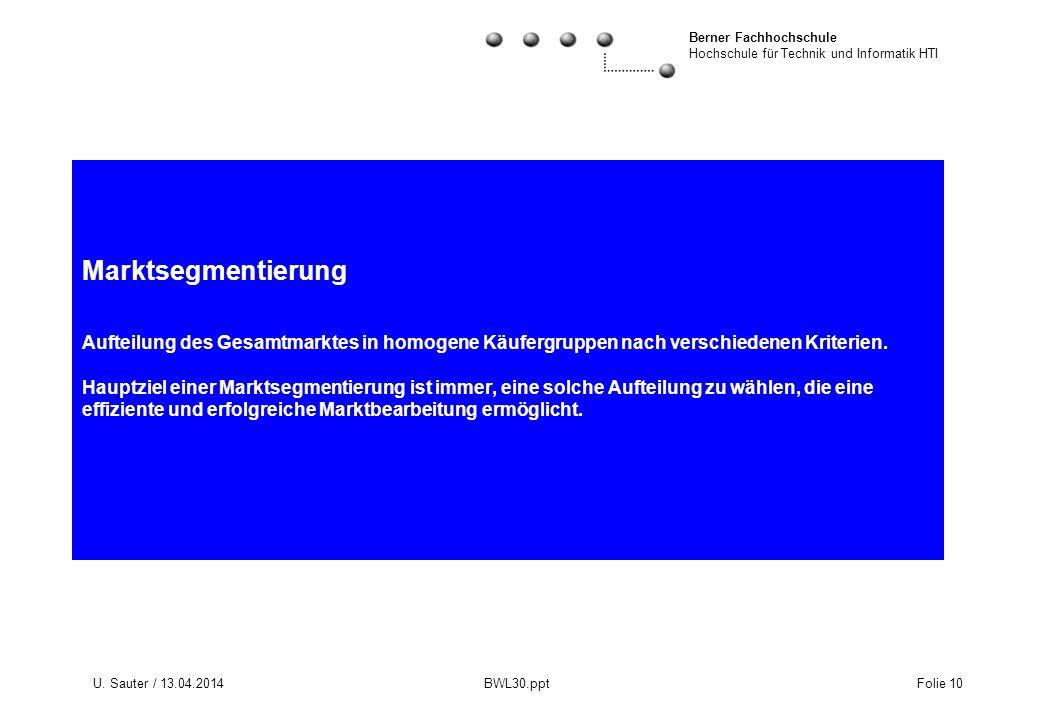 Berner Fachhochschule Hochschule für Technik und Informatik HTI U. Sauter / 13.04.2014 BWL30.ppt Folie 10 Marktsegmentierung Aufteilung des Gesamtmark