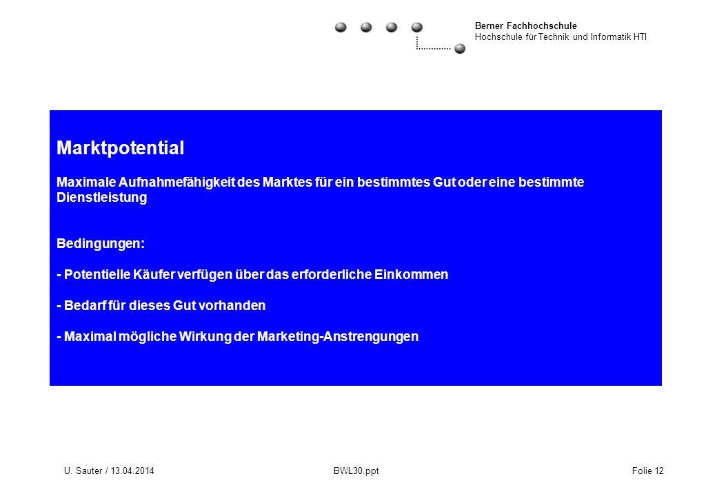 Berner Fachhochschule Hochschule für Technik und Informatik HTI U. Sauter / 13.04.2014 BWL30.ppt Folie 12 Marktpotential Maximale Aufnahmefähigkeit de