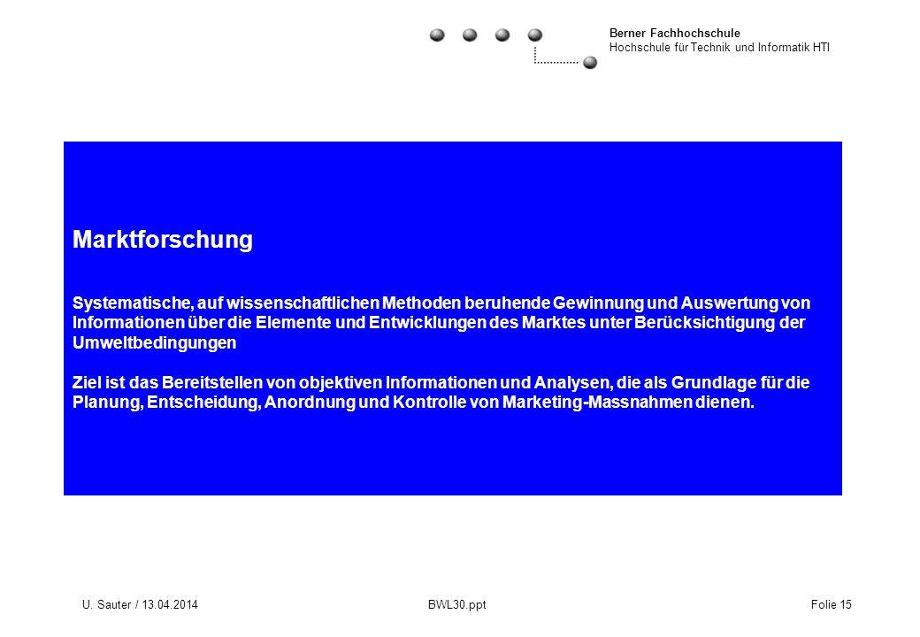 Berner Fachhochschule Hochschule für Technik und Informatik HTI U. Sauter / 13.04.2014 BWL30.ppt Folie 15 Marktforschung Systematische, auf wissenscha