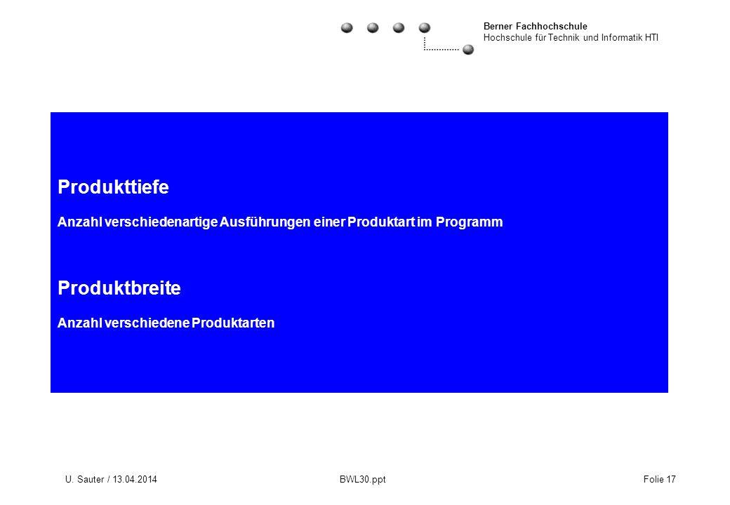 Berner Fachhochschule Hochschule für Technik und Informatik HTI U. Sauter / 13.04.2014 BWL30.ppt Folie 17 Produkttiefe Anzahl verschiedenartige Ausfüh