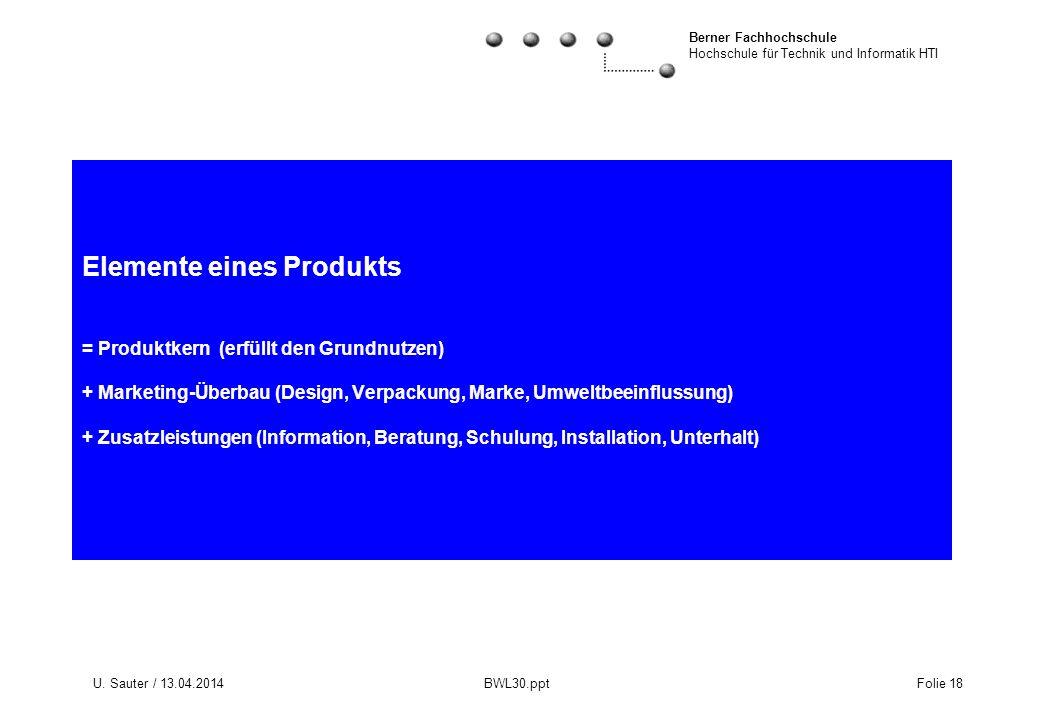 Berner Fachhochschule Hochschule für Technik und Informatik HTI U. Sauter / 13.04.2014 BWL30.ppt Folie 18 Elemente eines Produkts = Produktkern (erfül