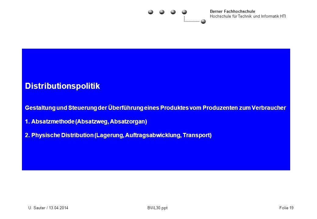 Berner Fachhochschule Hochschule für Technik und Informatik HTI U. Sauter / 13.04.2014 BWL30.ppt Folie 19 Distributionspolitik Gestaltung und Steuerun
