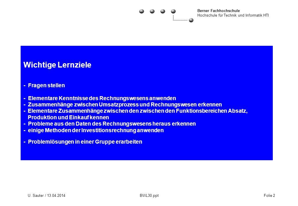 Berner Fachhochschule Hochschule für Technik und Informatik HTI U. Sauter / 13.04.2014 BWL30.ppt Folie 2 Wichtige Lernziele - Fragen stellen - Element