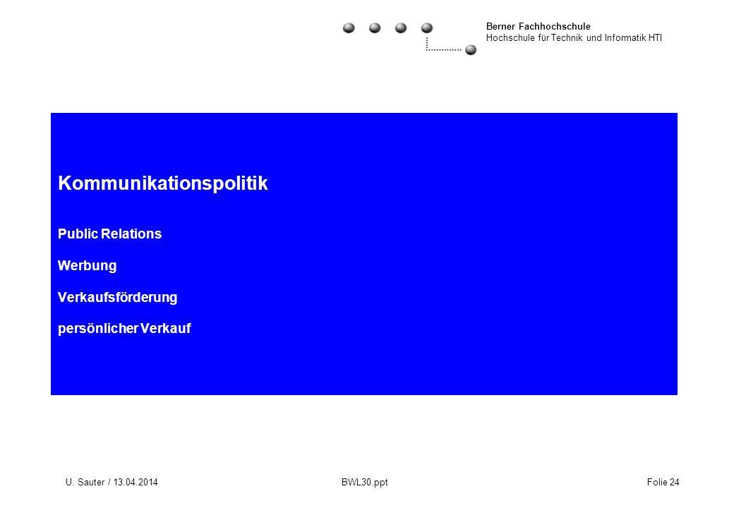 Berner Fachhochschule Hochschule für Technik und Informatik HTI U. Sauter / 13.04.2014 BWL30.ppt Folie 24 Kommunikationspolitik Public Relations Werbu