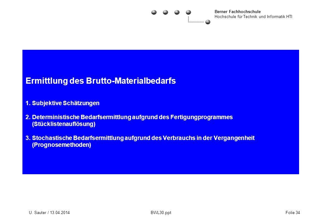 Berner Fachhochschule Hochschule für Technik und Informatik HTI U. Sauter / 13.04.2014 BWL30.ppt Folie 34 Ermittlung des Brutto-Materialbedarfs 1. Sub