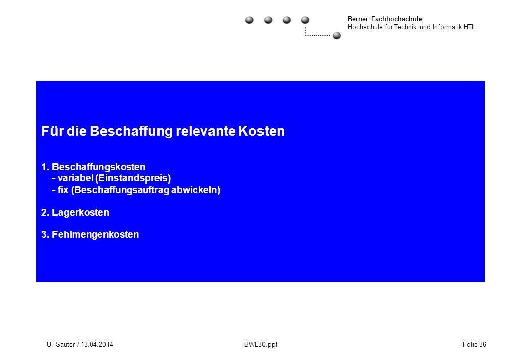 Berner Fachhochschule Hochschule für Technik und Informatik HTI U. Sauter / 13.04.2014 BWL30.ppt Folie 36 Für die Beschaffung relevante Kosten 1. Besc