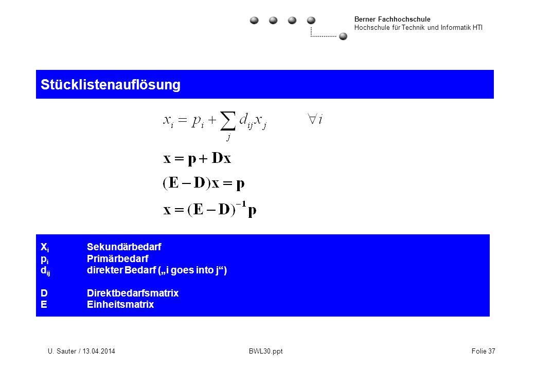 Berner Fachhochschule Hochschule für Technik und Informatik HTI U. Sauter / 13.04.2014 BWL30.ppt Folie 37 X i Sekundärbedarf p i Primärbedarf d ij dir