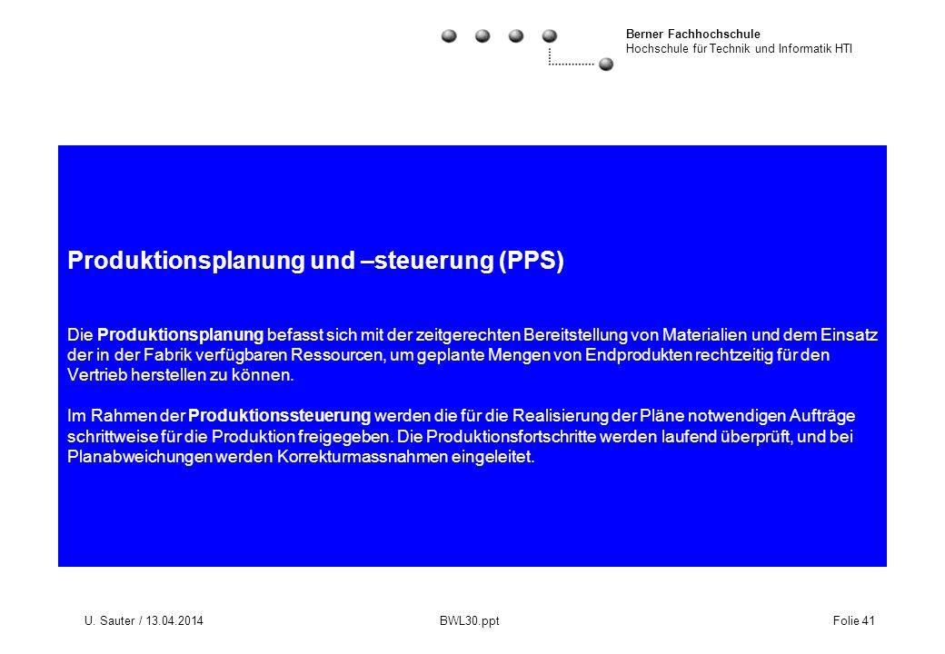 Berner Fachhochschule Hochschule für Technik und Informatik HTI U. Sauter / 13.04.2014 BWL30.ppt Folie 41 Produktionsplanung und –steuerung (PPS) Die