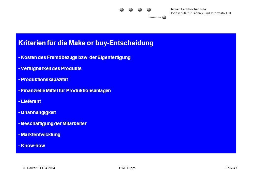 Berner Fachhochschule Hochschule für Technik und Informatik HTI U. Sauter / 13.04.2014 BWL30.ppt Folie 43 Kriterien für die Make or buy-Entscheidung -