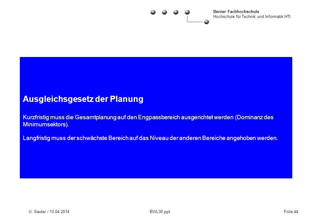 Berner Fachhochschule Hochschule für Technik und Informatik HTI U. Sauter / 13.04.2014 BWL30.ppt Folie 44 Ausgleichsgesetz der Planung Kurzfristig mus