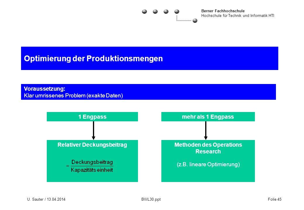 Berner Fachhochschule Hochschule für Technik und Informatik HTI U. Sauter / 13.04.2014 BWL30.ppt Folie 45 Optimierung der Produktionsmengen Voraussetz