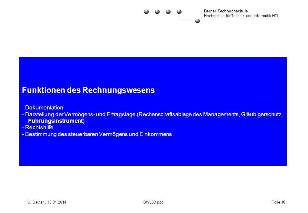 Berner Fachhochschule Hochschule für Technik und Informatik HTI U. Sauter / 13.04.2014 BWL30.ppt Folie 48 Funktionen des Rechnungswesens - Dokumentati