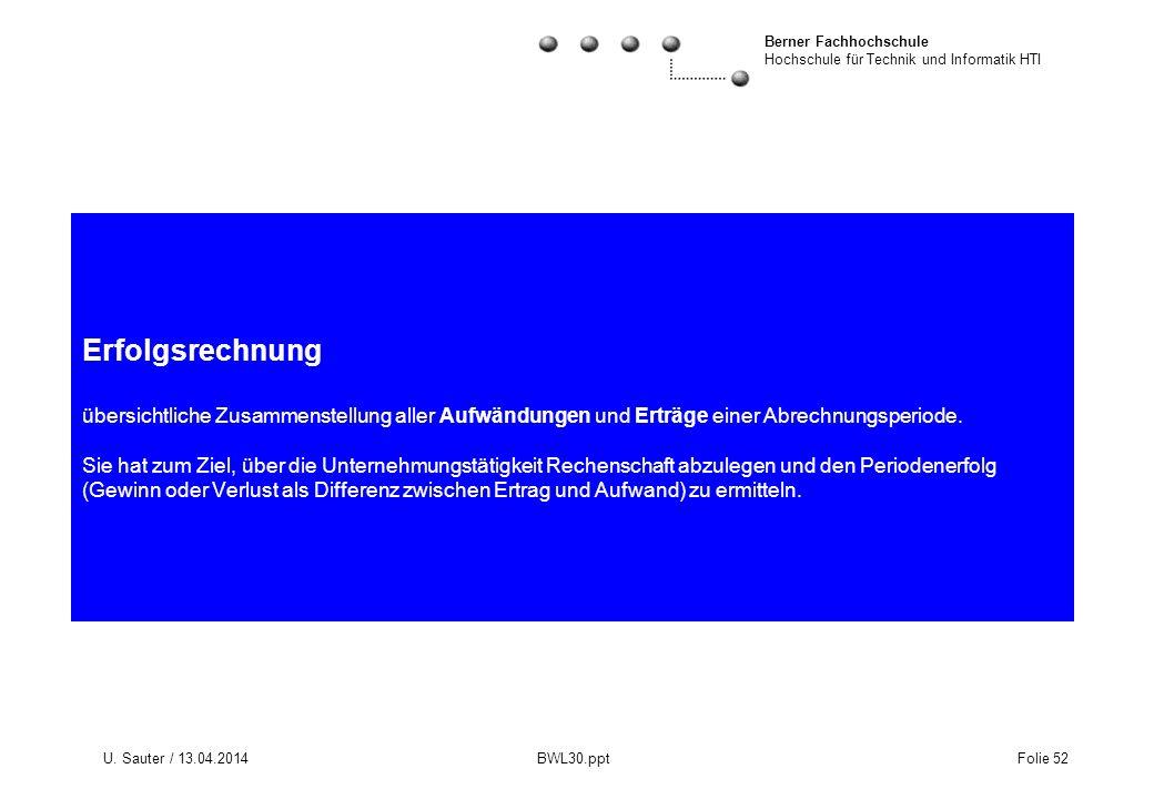 Berner Fachhochschule Hochschule für Technik und Informatik HTI U. Sauter / 13.04.2014 BWL30.ppt Folie 52 Erfolgsrechnung übersichtliche Zusammenstell