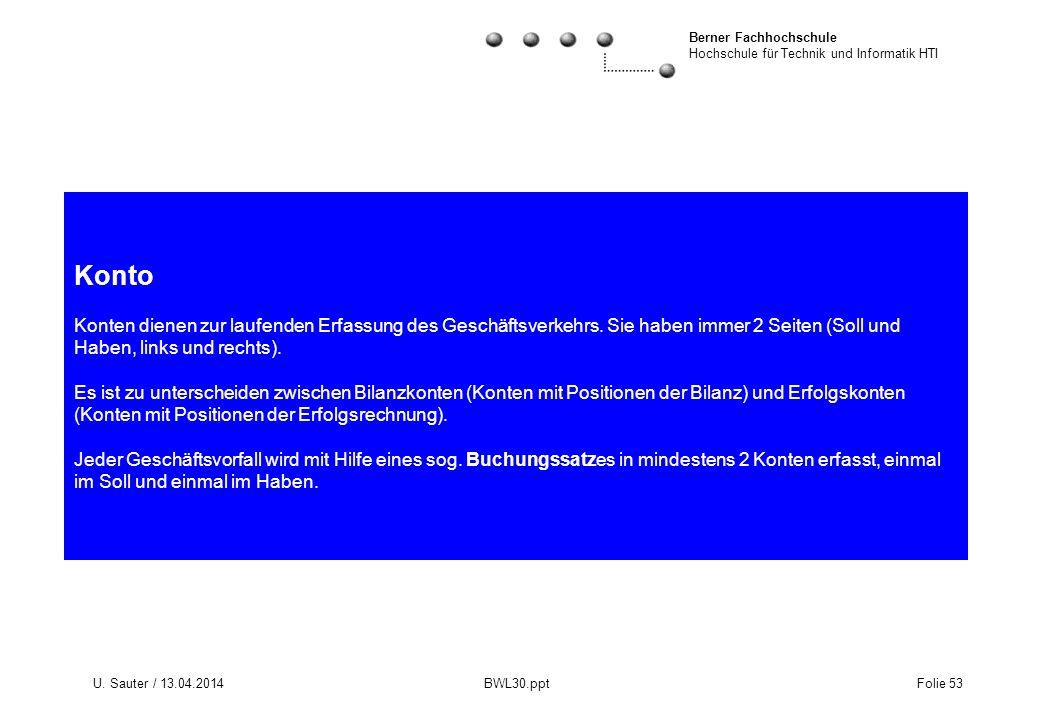 Berner Fachhochschule Hochschule für Technik und Informatik HTI U. Sauter / 13.04.2014 BWL30.ppt Folie 53 Konto Konten dienen zur laufenden Erfassung