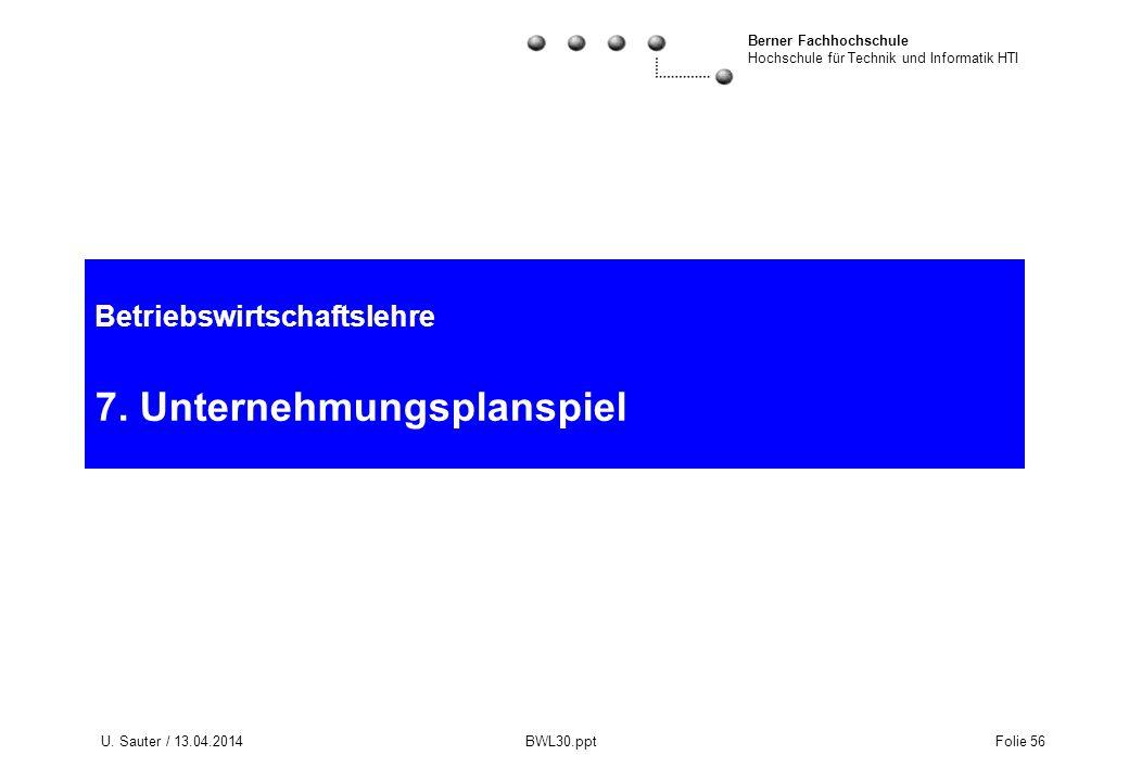 Berner Fachhochschule Hochschule für Technik und Informatik HTI U. Sauter / 13.04.2014 BWL30.ppt Folie 56 Betriebswirtschaftslehre 7. Unternehmungspla